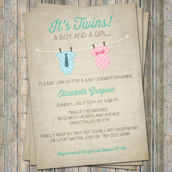 Boy/Girl Twin Onesie Baby shower Invitation, pink and blue Digital, Printable file