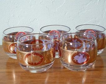 Vintage Roly Poly Glasses Set of 5 Cera Mad Men Hollywood Regency Mid Century Gold Red