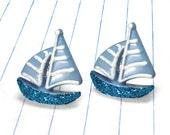 blue boat earrings - boat earrings - boat studs - boat jewelry - nautical earrings - nautical studs - nautical jewelry - blue earrings