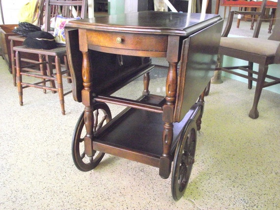 RESERVES FOR VIRGINIAVMK - Antique Drop Leaf Serving Tea Cart with Glass Serving Tray Removeable and Drawer