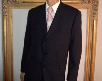 Vintage Hickey-Freeman Black Wool/Cashmere Blend Suit - Size 44 Reg