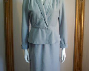 Vintage 1970's House of Nu Mode Powder Blue Faux Suede Suit - Size 6