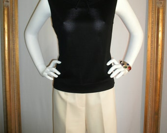 CLEARANCE Vintage 1970's Black Sleeveless Top - Size 10