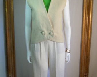 CLEARANCE Vintage 1960's Styles's Clothing Cream Colored Wool Vest - Size 10