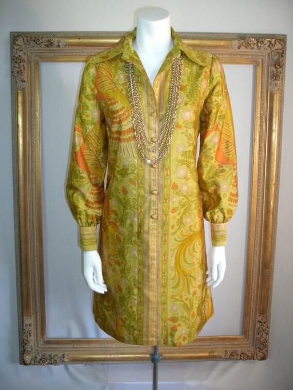 Vintage 1970's Choisy Gold Thai Silk Dress with Floral/Bird Design - Size 10