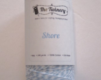 Full Spool - SHORE - Light Blue and White Bakers Twine (240 yards)