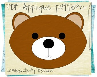 Brown Bear Clothing Applique Pattern - Kids Applique Template / Baby Quilt Design / Kids Girls Boys Clothing / Iron on Shirt Template AP16-D