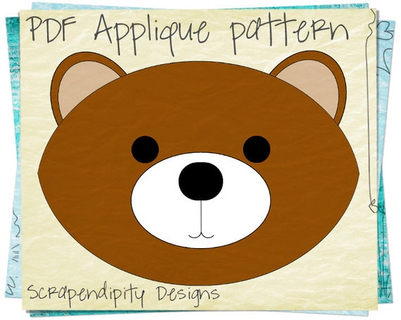 Brown Bear Clothing Applique Pattern Kids By