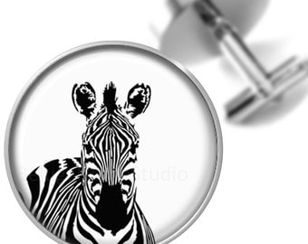 Zebra Cufflinks Animal Cuff Links Black White for Groomsmen Wedding Party Fathers Dads Men