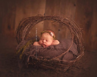woodland Fairy  : Newborn Headband  - Brown - Newborn Photo Prop -  halo,  flower headband, head band