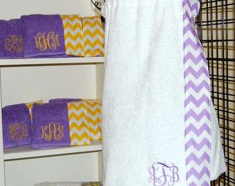 Monogrammed Towel Wrap with a Lavender Chevron Trim