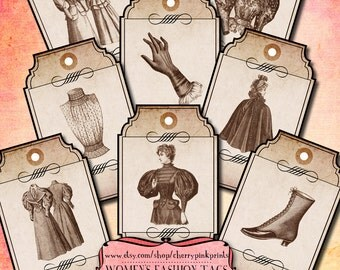 CLOTHING TAGS, apothecary tags, price tags, digital tag, digital collage sheet, sepia apothecary tags and labels, digital download