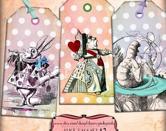 Vintage Alice Tags, Wonderland gift Tags, spotty labels, Alice party tags, perfect for parties, presents and invitations.