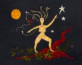 The Goddess Cabernet - California Wine - Nude Fantasy 8 x 10 Fine Art Print - New Age - Flower Blossoms