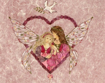 Wings of Love - Fantasy Fairy Flower Art - 8 x 10 Fine Art Giclee Print - Mother Daughter Heart Design