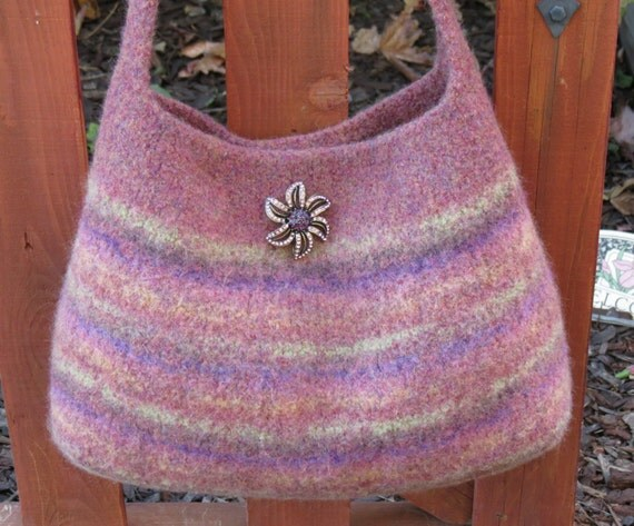 Felted Bag Knitting Pattern : Felted Purse Pattern Knit Bag Pattern by DeborahOLearyPattern
