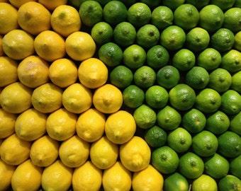 Lemon Lime Art Photo, Kitchen Decor, Bar Decor, Fruit Print, Citrus Print, Lemon Art Print, Lime Art Print, Fruit Photography