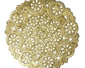 100 gold 8 inch paper doilies, wedding trim, party decoration, gold craft trim, gift wrap trim, paper craft trim holida embellishment