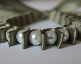 White Pearl & Sage Green Ribbon Bella Bracelet