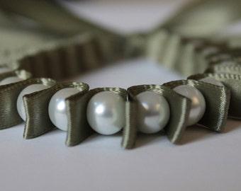 White Pearl & Sage Green Ribbon Bella Bracelet