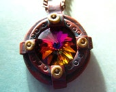 Steampunk Necklace Porthole with Volcano Swarovski Crystal