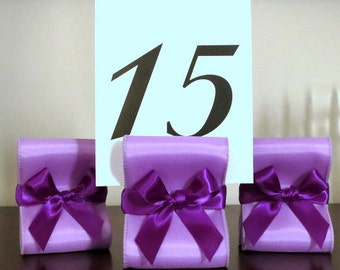 Table Number Holders - Wedding Decor - Ten (10) with Lavender and Purple Satin Ribbon - Customize Your Colors