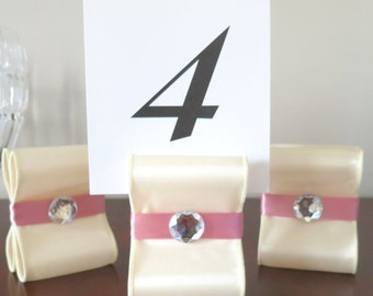 Table Number Holders - Wedding Decor - Set of Fifteen (15) with Ivory and Mauve Satin Ribbon with Acrylic Gem - Customize Your Colors