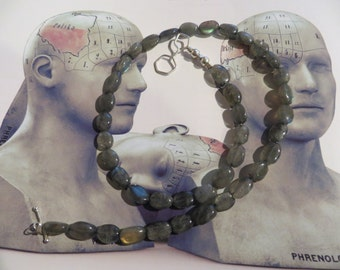 Silver molecule chain gray Labradorite gemstones necklace with silver nicotine molecule clasp - The secret is the molecule clasp -Stoptober