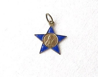 Antique French Brass and Enamel Star Medal of St Theresa of Lisieux, French Religious Medal