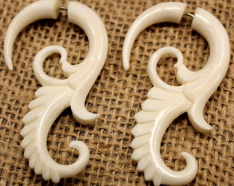 Bone tribal earrings - fake gauges