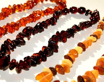 New Baltic Amber Baby Teething Necklaces  SET of 3