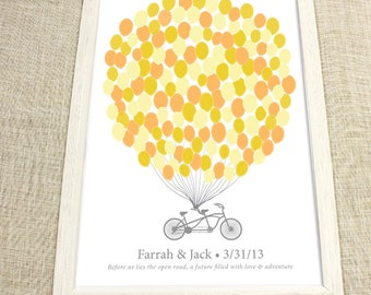 Wedding Guest Book Alternative - The Signature Bikewik - A Peachwik Personalized Art Print - 150 guest sign in - Balloons & Bike Guestbook