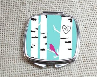 Birch Tree Compact Mirror - Birchwik - Bird in A Birch Tree Forest Pocket Mirror - Great for Bridesmaid, Birthday & Gifts, By Peachwik