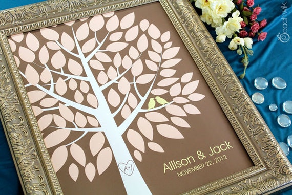 Wedding Guest Book Alternative - The Wishwik Tree - A Peachwik Interactive Art Print - 75 guest sign in