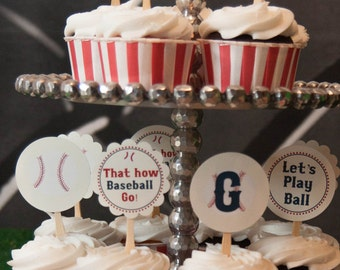Baseball Birthday Party Cupcake Toppers Party Circles Vintage Collection Custom