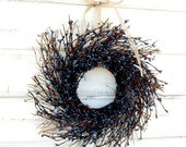 MINI TWIG WREATH-Blue Mini Window Wreath-Country Chic Wall Hanging-Rustic Home Decor-Table Centerpiece-Choose Scent