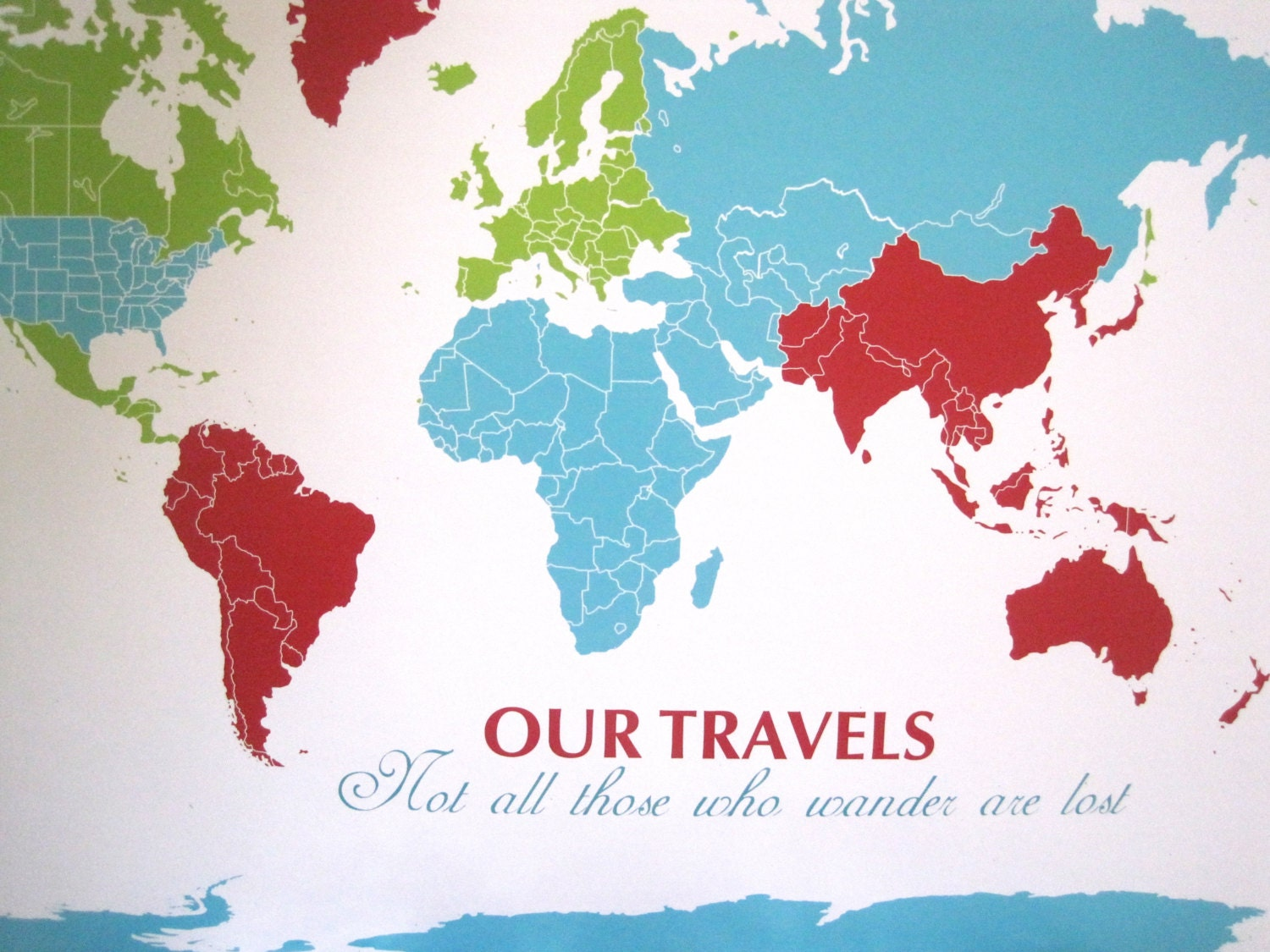 World Map Mounted on Foam Board Blank Pinnable Map by TexturedINK – Map With Pins For World Travel