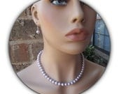 Bridesmaid Jewelry Necklace and Earrings Set - Simple Lavender Pearls Swarovski Wedding Jewelry