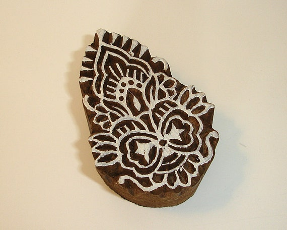 Hand Carved Wood Stamp: Indian Flower Ribbon Print Block Stamp, India Textiles Pottery Ceramics