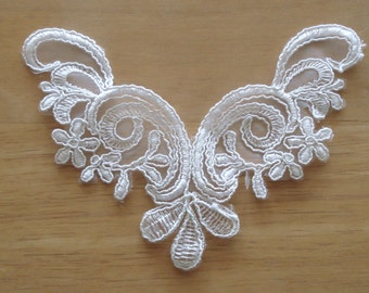 Venice Lace White Corded Embroidery On White Organza Fabric.
