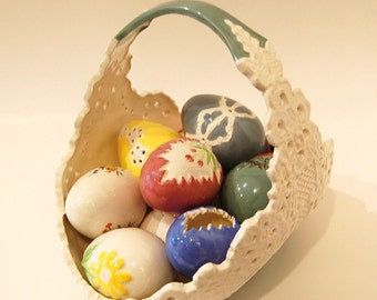 Easter Basket Ceramic Beautiful Handmade Hand Painted and Decorated Hand Painted Eggs