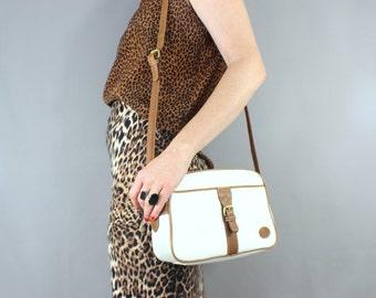 SALE Handbag Vintage Leather Equestrian Cross Body Bag Two Tone Purse