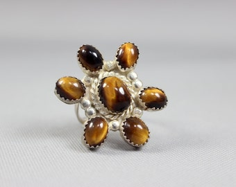 SALE Vintage Ring Tigers Eye Ring Large Sterling Silver Cocktail Ring 8