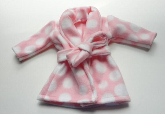 18 inch Doll Fleece Bathrobe and Booties pink polka dot