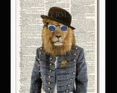 STEAMPUNK LION illustration upcycled dictionary page book art print - 198
