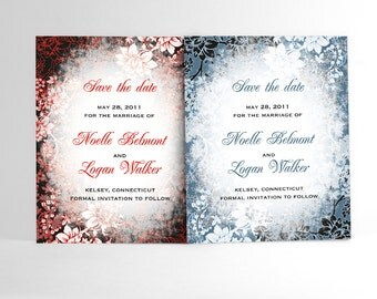 Winter Save the Date Cards with Evening Frost Border, Winter Wonderland Wedding Announcements Perfect for Winter and Holiday Weddings