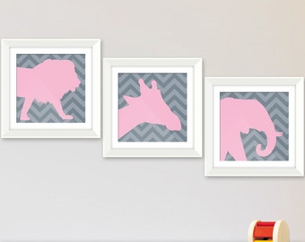Safari Animal Silhouettes New Baby Nursery, Safari Nursery or Zoo Theme. Your Choice of Colors with Chevron or Solid Background. Set of 3