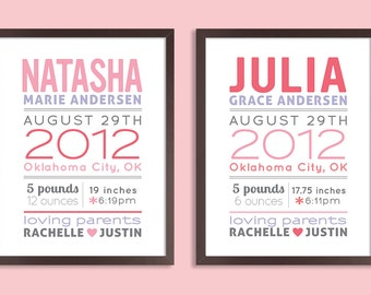 Custom 11x14 Birth Announcement Prints, Set of two prints, Nursery Wall Art Print (baby name and birth stats) pink & gray