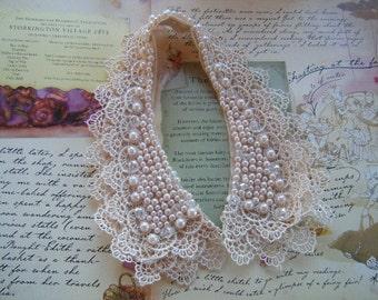 Beautiful Blush Pink Lace and Bead Collar