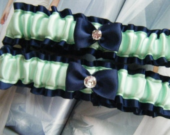 Green and Navy Satin Garter Set  Ready to Ship